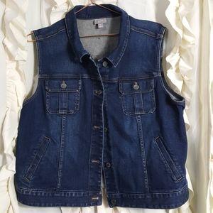 J. Jill stretch jean vest button front dark wash